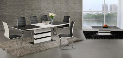 K2 Grey & White Small or Large Extending Table & Encore Chairs